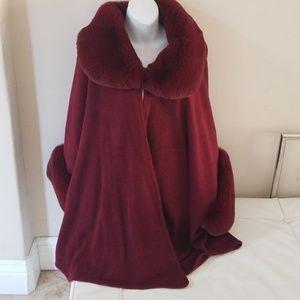 Jackets & Blazers - Burgundy fax fur jacket